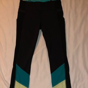 Lululemon black/neon light green/ blue leggings